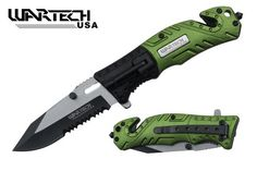 Pin It :-) Follow Us :-))  zCamping.com is your Camping Product Gallery ;) CLICK IMAGE TWICE for Pricing and Info :) SEE A LARGER SELECTION of pocket knives at http://zcamping.com/category/camping-categories/camping-knives-and-tools/pocket-knives/ -  hunting, camping, camping knives, camping gear, camping accessories  -   Wartech 8″ Assisted Open Folding Tactical Survival Pocket Knife Two Tone Blade Black/green Handle with Led Light « zCamping.com