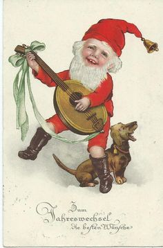Marie Flatscher  (unsign)   Gnome in Santa suit plays music, dachshund sings