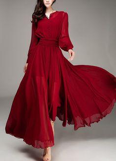 Spring summer chiffon long dress lady women clothing by handok, $89.00