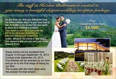 Help my cousin and his wonderful fiance win a dream wedding. Find Ko'olau Ballrooms & Conference Center on Facebook, like the page, and place a vote for the story entitled Mony and Me: A Love Story. THANK YOU!!!!!!