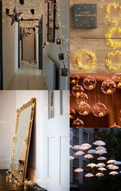 {1. black lights 2. Starry String Lights 3. Candle Lights 4. mirror 5. Umbrella Lights} Our Pinterest inspiration today is a collection of beautiful pictures of light decorations. A simple string of lights can do so much to a room....