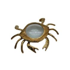 Brass Crab Magnifying Glass Paperweight (100 CAD) ❤ liked on Polyvore featuring home, home decor, office accessories, desk organizers, brass paper weight, brass paperweight and brass magnifying glass