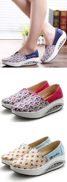 US$20.39 Fish Pattern Rocker Sole Swing Platform Sport Shoes For Women