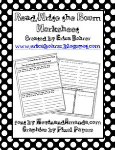 This download is for a free double sided Read/Write the Room Worksheet and teacher directions.