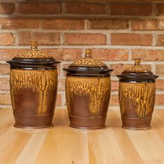Three Piece Canister Set in Brown Ash | Black Glaze
