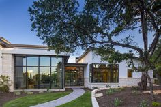Modern Contemporary Residence in Westlake Hills , Texas Farmhouse Architecture, Modern Farmhouse Exterior, Austin Homes, Austin Texas, Texas Style Homes, French Chateau Homes, Texas House Plans, Country Modern Home, Rustic Modern