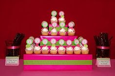 DIY Cupcake stand with boxes & wrapping paper etc