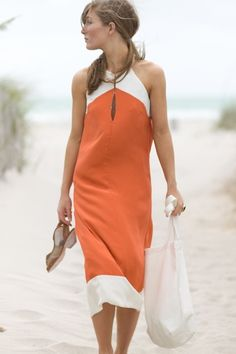tangerine and white color-blocked dress
