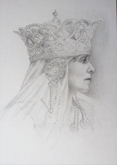 Queen Mary of Romania . Graphite pencil drawing on cardboard, by Florina Ravariu. Queen Mary, Art Studies, Descendants, Edinburgh, A3, Romania, Graphite, Pencil Drawings, Colored Pencils
