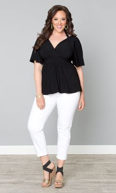 Who says you can't wear black in the summer? Pair our plus size Starlet Flutter Sleeve Top with white capris, wedges and top it off with fun neon accessories. Perfect for summer! www.kiyonna.com #KiyonnaPlusYou #Plussize #MadeintheUSA #Kiyonna