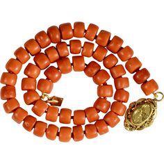 This beautiful deep orange salmon color natural coral (not treated in any manner) necklace dates from the mid nineteen century, a splendid gift from Antique Jewelry, Vintage Jewelry, Handmade Jewelry, Queens Jewels, Art Carved, Summer Street, Salmon Color, Turquoise Jewelry, Necklace Lengths