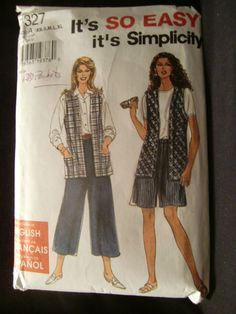 Simplicity Pattern No. 7327 Misses' Split Skirt in Two Lengths And Vest Size XS,S,M,L,XL UNCUT by ElliesStudio1 on Etsy