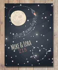 I Love You To The Moon & Back Poster, Personalized Wedding Gift. A great gift for weddings for mother and father in law, engagements, housewarmings or