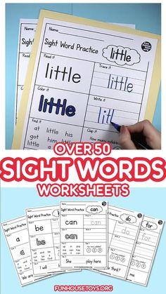 Kindergarten Sight Words List, Preschool Sight Words, Kindergarten Reading, Preschool Kindergarten, Preschool Worksheets Free, Kindergarten Writing Journals, Interactive Notebooks Kindergarten, Kindergarten Handwriting, Learning Sight Words