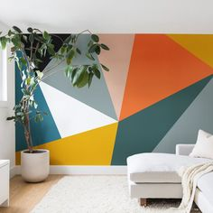 Mural wall in Kids/Youth room - pure white, refuge, saffron strands, raucous orange, true taupewood and quaint peache Modern Geometric 33 Wall Mural The Old Art Studio Geometric Wall Paint, Geometric Artwork, Modern Wall Paint, Geometric Painting, Geometric Decor, Diy Wall Art, Wall Decor, White Wall Art, Room Wall Painting
