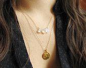 Set Of 2 Gold Necklaces, Delicate Moonstones Necklace. $90 Style Number 40012U  Materials: moonstone, gemstone, gold filled, gold vermeil