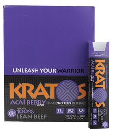 Kratos Foods High Protein Beef Bar Acai Berry -- 12 Bars. These are awesome and healthy too!