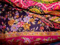 Vintage Printed Silk Sari Close Ups