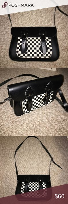 Cambridge satchel company checkered messenger bag Cute messenger bag! Looks brand new! Very sturdy, black and white checkered / gingham bag. The Cambridge Satchel Company Bags Crossbody Bags