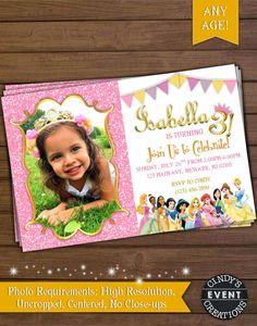 Princess Birthday Invitation, Digital Disney Princess Invitation