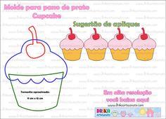 Patchwork moldes cupcake com cereja em patch aplique | Drika Artesanato - Dicas e sugestões sobre artesanato.