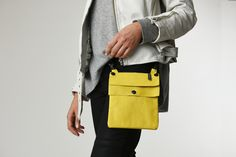 gorgeous leather yellow hip bag by elphile