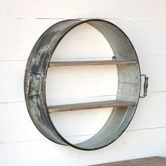 "Shelving is always a must-have! This Drum Shelf is repurposed and beautiful in any room. 24"" x 6"" x 25"""