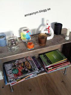 En gammal sockerlåda på nya ben blev en tidningshylla. #IKEA #capita #ekbytryggve