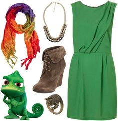 "Tangled: ""Pascal Outfit ~ Channel his character by wearing a dress in his signature green color and pairing it with edgy lace-up ankle booties. Add some color with a multicolored scarf to continue the chameleon-inspired appeal. Finish off the look by layering the scarf with a twisted rope necklace and a cute little lizard ring for an outfit inspired by Rapunzel's favorite reptile."