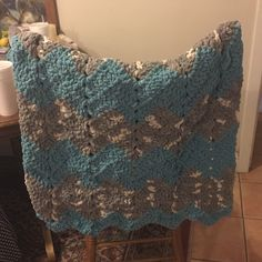 Ripple Blanket made with Bernat Blanket yarn. Super easy to crochet ...