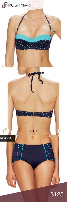16 / Spanx navy blue polka dot bikini set NWT BOTH NWT! ✨ Navy blue polka dot balconette bikini top & bottoms set. Top is fully lined w/ boning at sides & underwire. Removable halter strap. Tie closure at neck, S hook closure at back. Nylon & lycra shell w/ nylon lining. Retails $68.   Matching bikini bottom w/ ruffle skirt at side & back. Full cut w/ elasticized waist and cuffs. Fully lined. Nylon & lycra shell w/ nylon lining. Retails $72.   SIZE: 16  ❌ no trades ✔️offers welcome! ❣️add to…