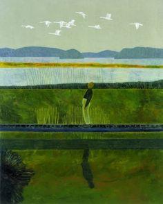 Hans Vandekerckhove (Belgian, b. Wild Geese, 1999 Oil on canvas Modern Art, Contemporary Art, Digital Collage, Figurative Art, Dark Art, Landscape Art, Birds In Flight, Oil On Canvas, Illustration Art