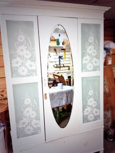 Vintage lace panels spray painted on wardrobe Annie Sloan original and duck egg ( panels ) painted by Home Revival find us on Facebook :)