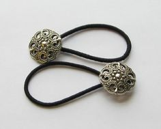 Antique Silver Button Ponytail Holders by PrettyPonytails11, $6.50