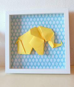 Cadre 3D Eléphant origami Taille XL - Jaune et Bleu- Décoration murale bébé et enfant