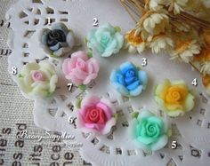 6pcs 12mm Polymer Clay flowers FIMO flowers Straight by baosy, $2.29