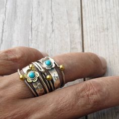 Bohemian Sterling Silver and Turquoise Stacking Ring Set Thin Rings, Greek Jewelry, Gold And Silver Rings, Boho Rings, Stacking Rings, Jewelry Trends, Personalized Jewelry, Sterling Silver Jewelry, Cuff Bracelets