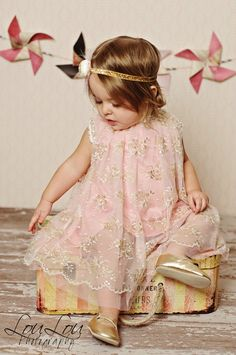 Pink Gold Edie Lace Pearl Swing Dress Lace Pearl Vintage Girls Dress - The Couture Baby
