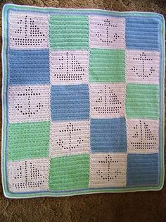 Hand Crocheted Baby Afghan Blanket by GZMinisNeedlecrafts on Etsy Crochet Boat, Nautical Crochet, Baby Afghan Crochet, Crochet For Boys, Baby Afghans, Crochet Blanket Patterns, Hand Crochet, Crochet Ideas, Crochet Projects