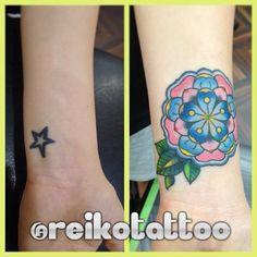 #coverup #flower #タトゥー #tattoo #reikotattoo