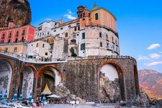 Atrani Town on the Amalfi Coast Seaside Towns, Mediterranean Style, Amalfi Coast, Naples, Places To Travel, Greece, Spain, Italy, Mansions