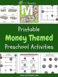Can you count the dollar bills? Practice counting, an important part of Kindergarten Readiness, along with writing letters of the alphabet with these Money Preschool Theme Activities.