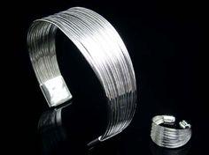 Sterling Silver Multiple String Bracelet  and Ring Set