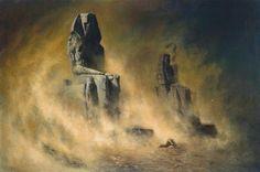 windingcosmicserpent: Karl Wilhelm Diefenbach - The Colossi of Memnon in a Sandstorm Macabre Art, Fantastic Art, Contemporary Artists, Les Oeuvres, Light Colors, Comic Art, Art Nouveau, Illustration Art, Illustrations