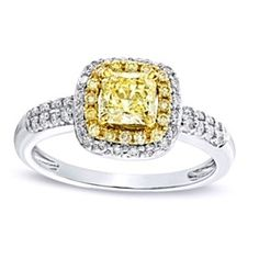 1 Ct D/VVS1 Yellow & White Diamond Double Row Engagement Ring In 14K White Gold by JewelryHub on Opensky