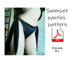 Woman panties or swimsuit bottom pattern. Made for stretchy lycra fabric. Suitable for sewing swimwear or chic underwear. Size is regulated with ribbons on sides. The pattern doesn't include a tutorial on how to sew it! A simple pattern is suitable for beginners. This is the pattern in sizes M-L. Model wears size M. You can easily adjust the size with the ribbons on the I sewed panties from stretchy lycra fabric. For ribbons on the sides, I used thinner mesh fabric. Handmade Skirts, Handmade Clothes, Disco Costume, Queen Hat, Swimsuit Pattern, Vintage Inspired Fashion, Costume Patterns, Pattern Fashion, Swimsuits