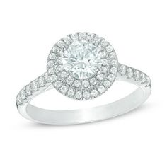 1-1/4 CT. T.W. Diamond Double Frame Engagement Ring in 14K White Gold