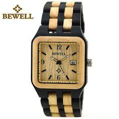 BEWELL Quartz Wooden Mens Watch Square Luxury Brand