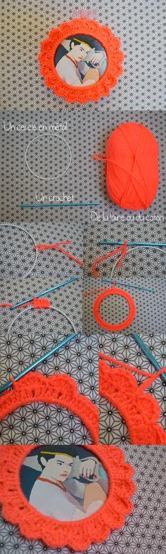 Comment réaliser un cadre en crochet aux couleurs néon! Plus d'infos : http://leheaumedelamort.blogspot.fr/