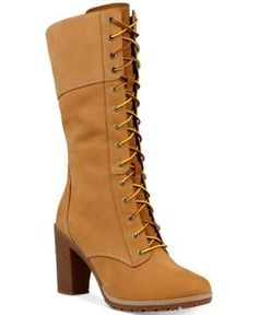 283ab6b84ba Timberland Women s Glacy Lace-Up Block-Heel Boots - Brown 9.5M Timberland  Heel
